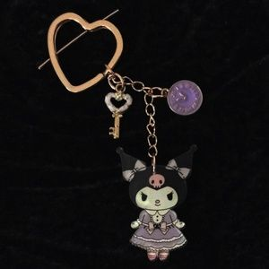 KUROMI Key Chain with Heart Key Ring, Clock Charm